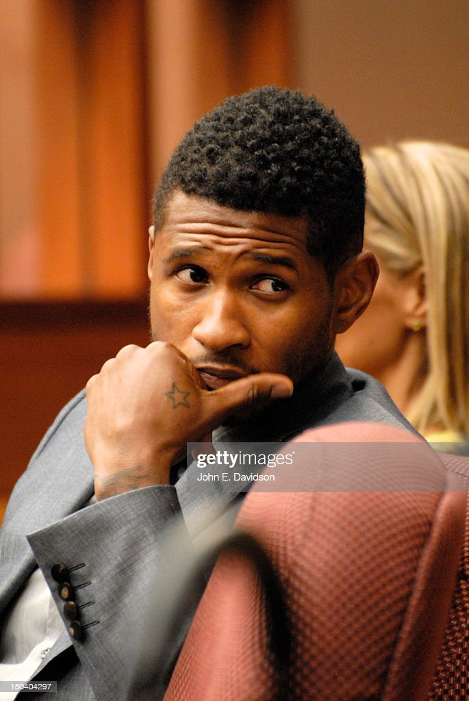<a gi-track='captionPersonalityLinkClicked' href=/galleries/search?phrase=Usher+-+Singer&family=editorial&specificpeople=201477 ng-click='$event.stopPropagation()'>Usher</a> Raymond attends a hearing to discuss child custody with his ex-wife Tameka Foster at Fulton County State Court on August 16, 2012 in Atlanta, Georgia. <a gi-track='captionPersonalityLinkClicked' href=/galleries/search?phrase=Usher+-+Singer&family=editorial&specificpeople=201477 ng-click='$event.stopPropagation()'>Usher</a> and Tameka, who officially divorced in 2009, are fighting over custody of their two young sons. The judge heard closing arguments today.