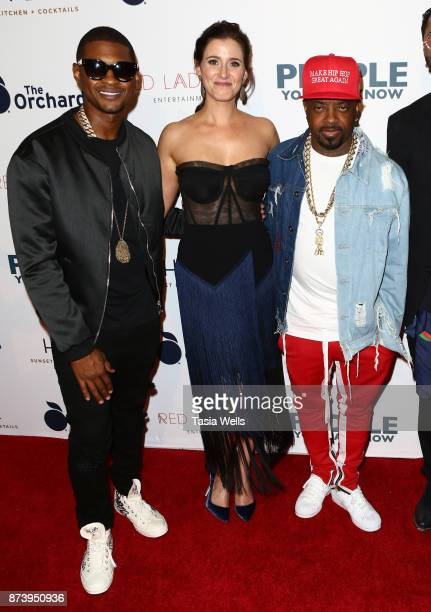 Usher Raymond IV Kaily Smith Westbrook and Jurmaine Dupri at the premiere of The Orchard's 'People You May Know' at The Grove on November 13 2017 in...