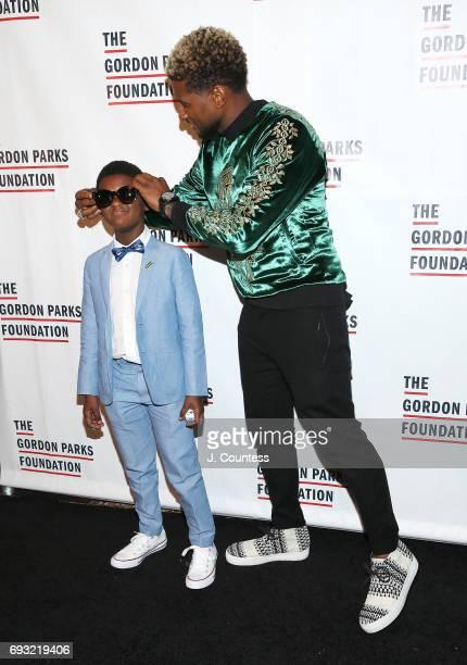 Usher Raymond V and Usher Raymond IV attend the 2017 Gordon Parks Foundation Awards Gala at Cipriani 42nd Street on June 6 2017 in New York City