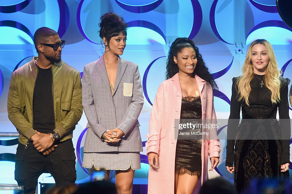 Usher Rihanna Nicki Minaj and Madonna onstage at the Tidal launch event #TIDALforALL at Skylight at Moynihan Station on March 30 2015 in New York City