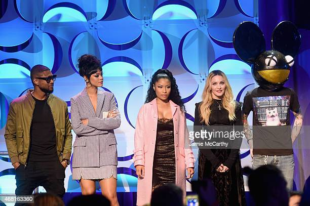Usher Rihanna Nicki Minaj Madonna and Deadmau5 onstage at the Tidal launch event #TIDALforALL at Skylight at Moynihan Station on March 30 2015 in New...