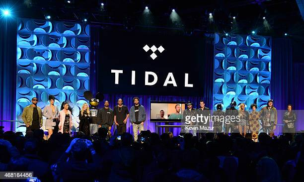 Usher Rihanna Nicki Minaj Madonna Dead Mouse Kanye West Jay Z Jason Aldean Jack White Daft Punk Beyonce and Win Butler attend the Tidal launch event...