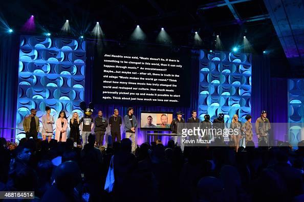 Usher Rihanna Nicki Minaj Madonna Dead Mouse Kanye West Jay Z Jason Aldean Jack White Daft Punk Beyonce and Win Butler attend the Tidal launch event...