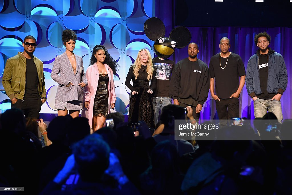 Usher Rihanna Nicki Minaj Madonna Deadmau5 Kanye West JAY Z and J Cole onstage at the Tidal launch event #TIDALforALL at Skylight at Moynihan Station...