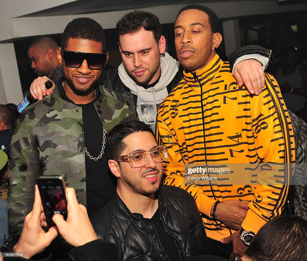 Usher, Scooter Braun and Ludacris attend the So So Def anniversary party hosted by Jay Z at Compound on February 23, 2013 in Atlanta, Georgia.