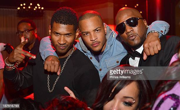 Usher TI and Young Jeezy attend TI's birthday celebration at Vanquish on September 27 2012 in Atlanta Georgia