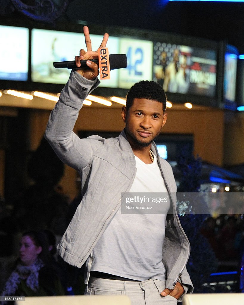 Usher visits 'Extra' at The Grove on May 6, 2013 in Los Angeles, California.