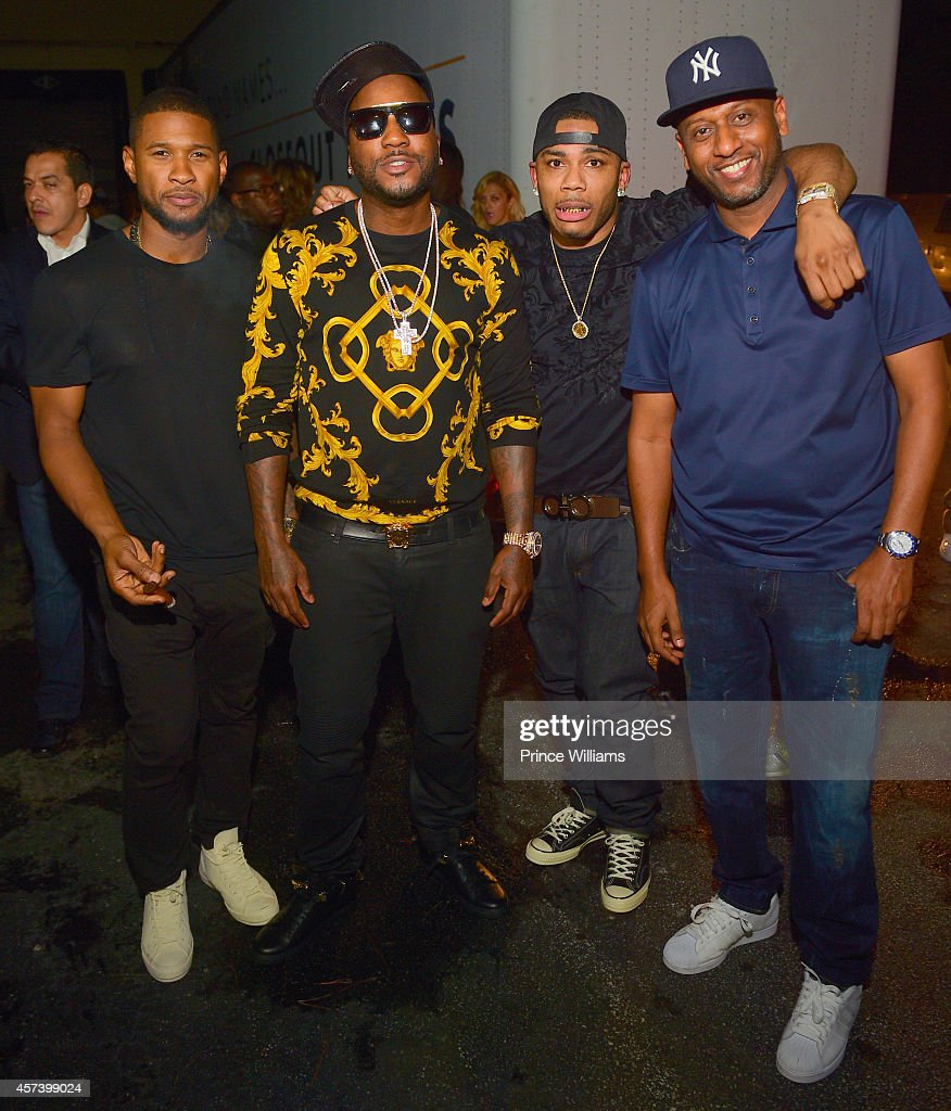 Usher Young Jeezy Nelly and Alex Gidewon attend Hip Hop Awards Grande Finale Hosted by Jeezy Future at Velvet Room on September 21 2014 in Chamblee...
