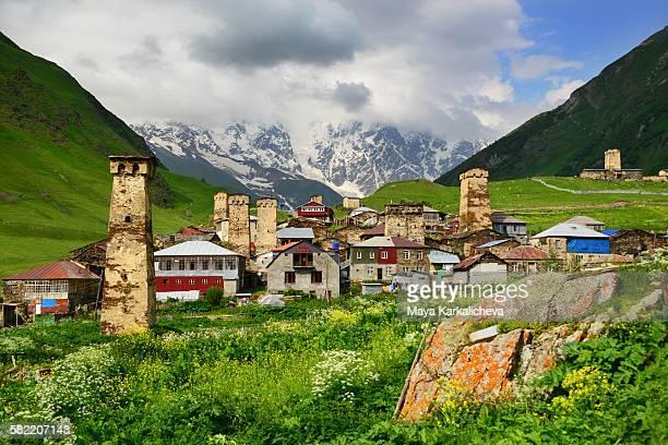 Ushguli village and Shkhara range, Caucasus