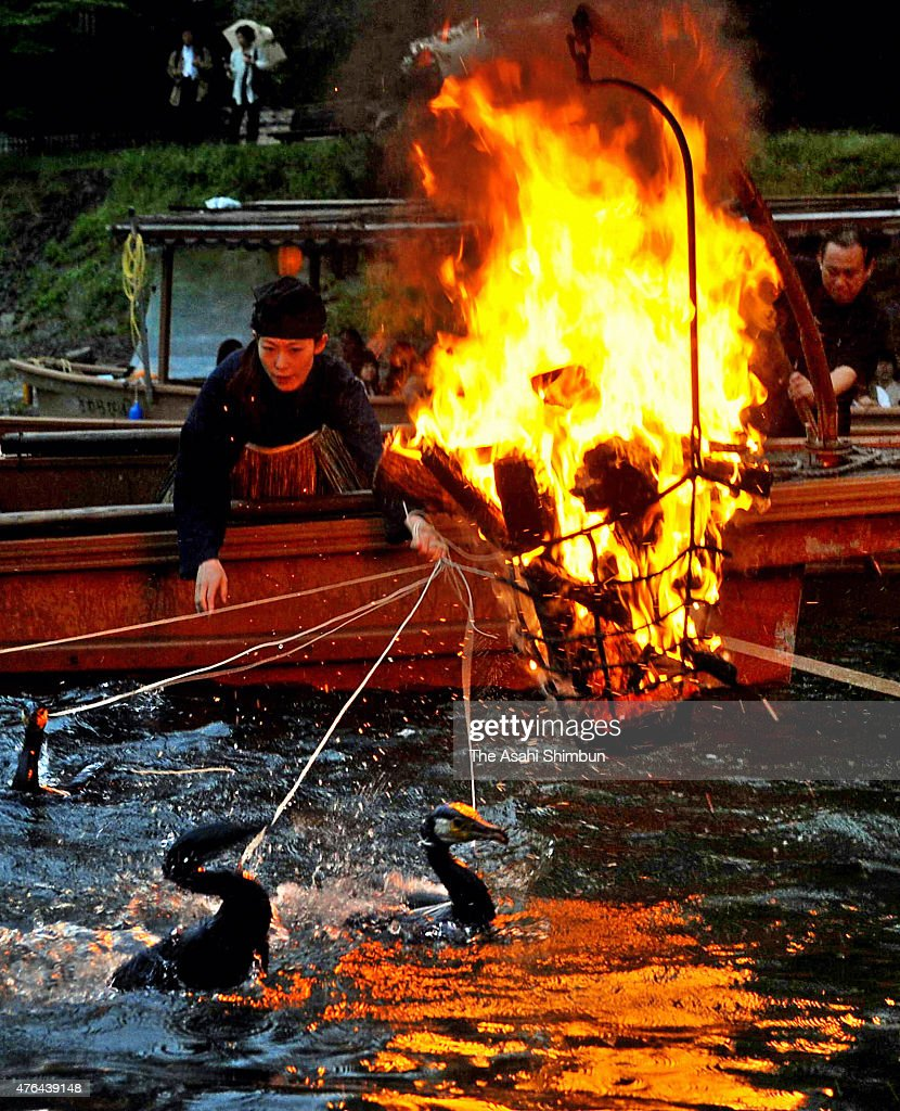 A Usho cormorant fishing master operate during the Ukai cormorant fishing in the Ujigawa River on June 18 2011 in Uji Kyoto Japan