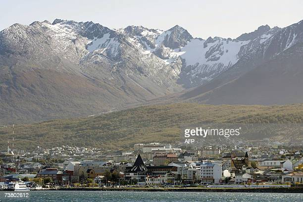 Picture of Ushuaia the capital of the Argentine province of Tierra del Fuego the world's southernmost city taken from the Beagle Channel on March...