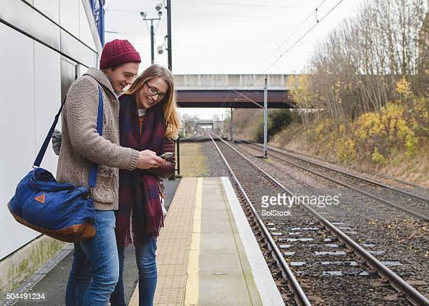 À l'aide d'un Smartphone et de la gare