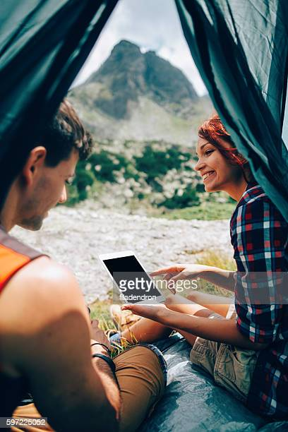 Using a tablet in a tent
