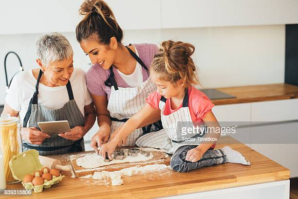 Using a tablet while making cookies