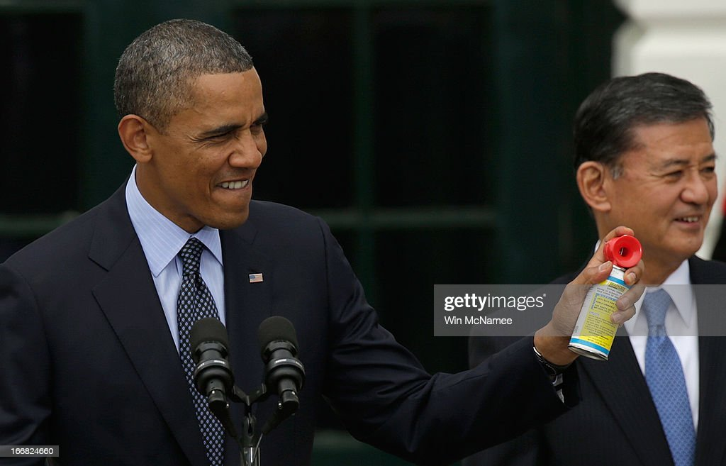 Using an air horn, U.S. President <a gi-track='captionPersonalityLinkClicked' href=/galleries/search?phrase=Barack+Obama&family=editorial&specificpeople=203260 ng-click='$event.stopPropagation()'>Barack Obama</a> officially starts the beginning of the Wounded Warrior Project's Soldier Ride with Veterans Affairs Secretary <a gi-track='captionPersonalityLinkClicked' href=/galleries/search?phrase=Eric+Shinseki&family=editorial&specificpeople=2597806 ng-click='$event.stopPropagation()'>Eric Shinseki</a> at the White House April 17, 2013 in Washington, DC. The Wounded Warrior Soldier Ride is an event designed to assist wounded U.S. veterans in using cycling to overcome physical, mental, or emotional wounds.