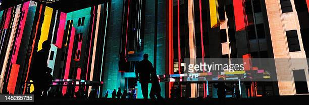Using digital 3D mapping technology images by Justene Williams and Spinifex are projected onto the walls of the Museum of Contemporary Art during the...