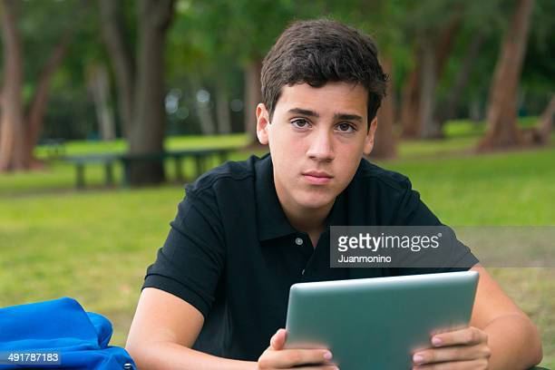 Using his Tablet PC