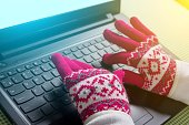 Using laptop in a cold winter, Female with gloves on.