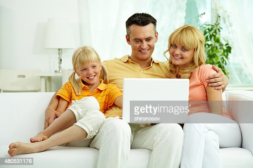 Using laptop : Stock Photo