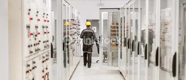Using protective relay and medium voltage switchgear. Engineering department : Stock Photo