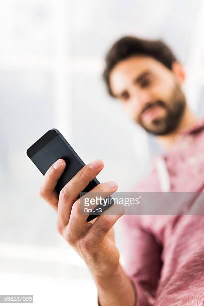 Using smart phone.