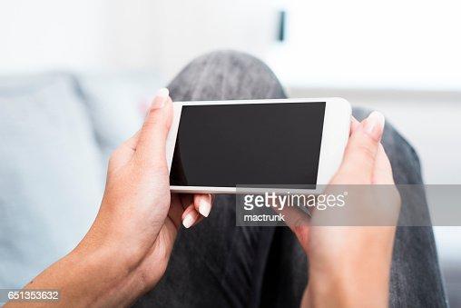 Using smartphone : Stock Photo