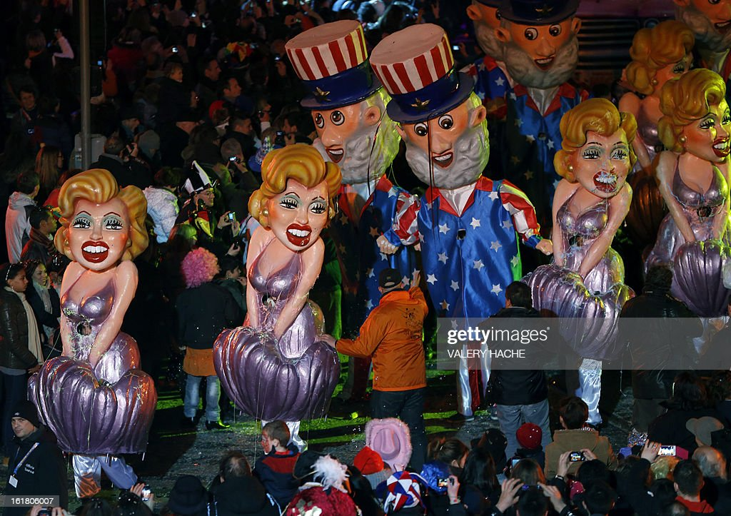 A US-inspired float parades on February 16, 2013 during carnival in the southeastern French city of Nice. The carnival, which ends on March 6, celebrates the King of the Five Continents for its 140th anniversary. HACHE