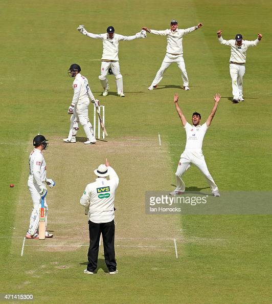 Usman Arshad of Durham claims the wicket of Matt Machan during day 3 of the LV County Championship match between Durham CCC and Sussex CCC at The...