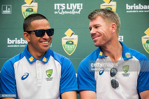 R Usman Khawaja and David Warner at the Commonwealth Bank Test Series Launch at Queen Street Mall on December 11 2016 in Brisbane Australia