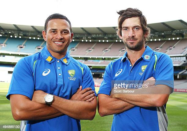Usman Khawaja and Joe Burns of Queensland pose after being named in the Australian test team during day three of the Sheffield Shield match between...