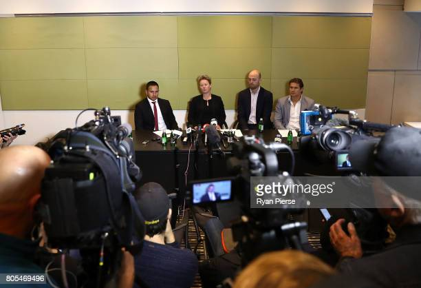 Usman Khawaja Clea Smith Alistair Nicholson and Shane Watson attend a press conference after the ACA Emergency Executive meeting at the Hilton Hotel...