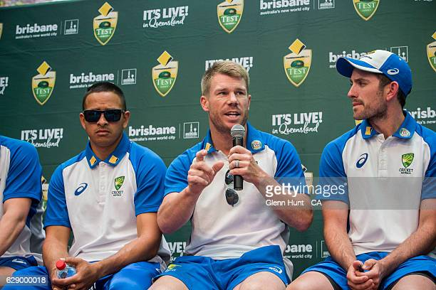 R Usman Khawaja David Warner and Chad Sayers at the Commonwealth Bank Test Series Launch at Queen Street Mall on December 11 2016 in Brisbane...