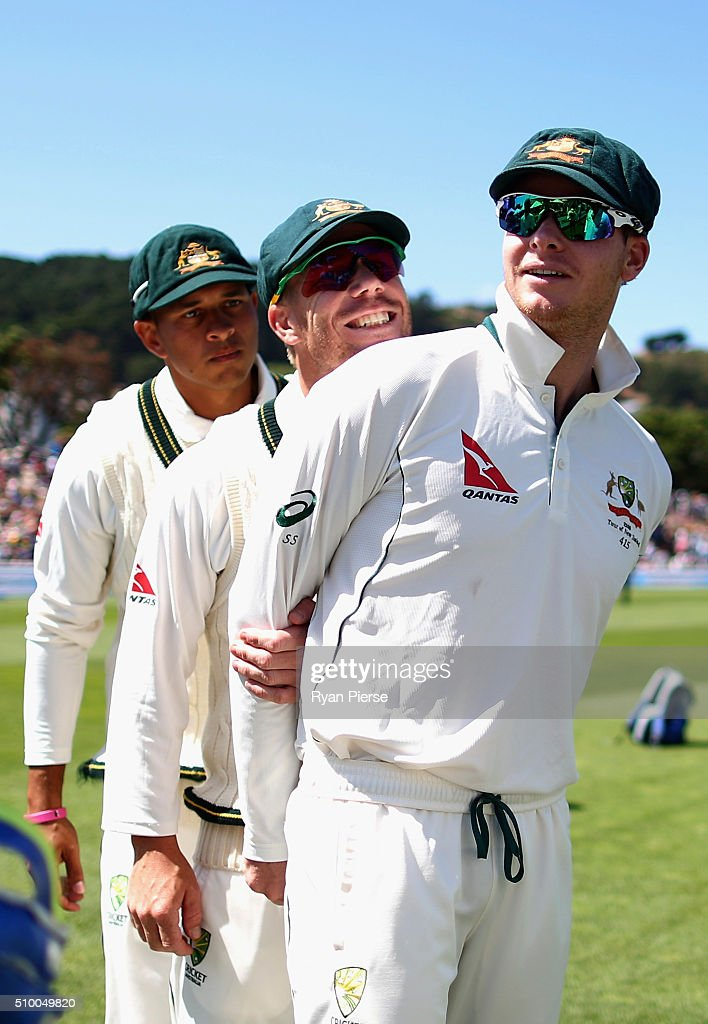Usman Khawaja, David Warner and Steve Smith of Australia prepare to take to the field during day three of the Test match between New Zealand and Australia at Basin Reserve on February 14, 2016 in Wellington, New Zealand.