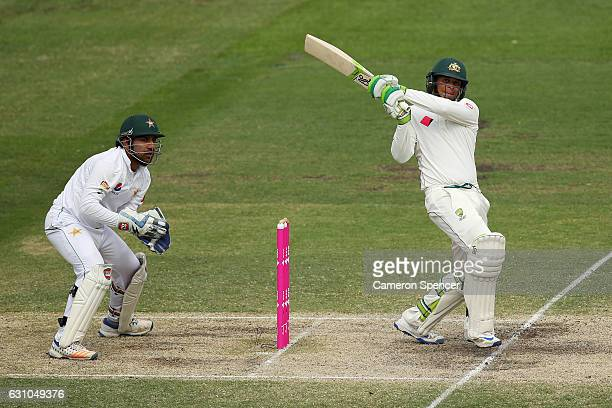 Usman Khawaja of Australia bats during day four of the Third Test match between Australia and Pakistan at Sydney Cricket Ground on January 6 2017 in...