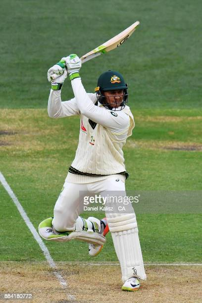 Usman Khawaja of Australia bats during day one of the Second Test match during the 2017/18 Ashes Series between Australia and England at Adelaide...