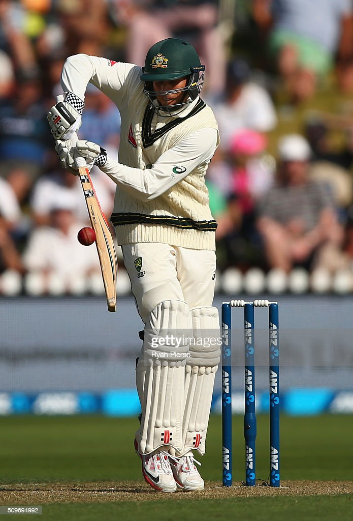 <a gi-track='captionPersonalityLinkClicked' href=/galleries/search?phrase=Usman+Khawaja&family=editorial&specificpeople=4953179 ng-click='$event.stopPropagation()'>Usman Khawaja</a> of Australia bats during day one of the Test match between New Zealand and Australia at Basin Reserve on February 12, 2016 in Wellington, New Zealand.
