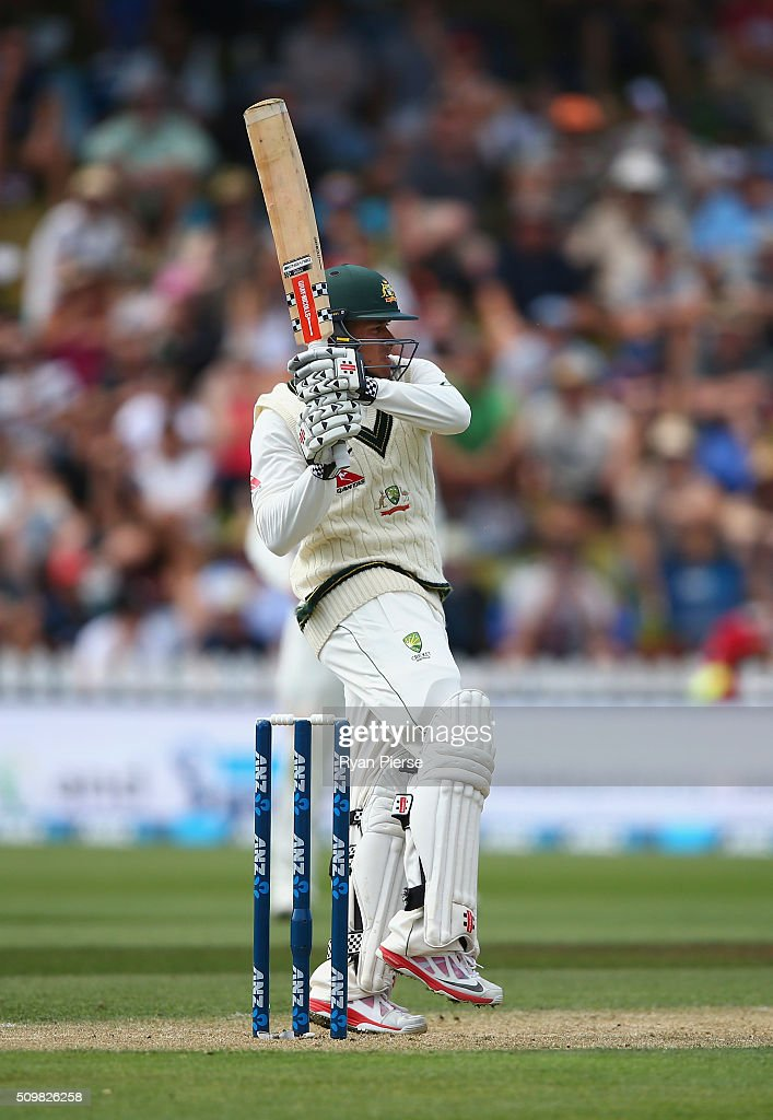 <a gi-track='captionPersonalityLinkClicked' href=/galleries/search?phrase=Usman+Khawaja&family=editorial&specificpeople=4953179 ng-click='$event.stopPropagation()'>Usman Khawaja</a> of Australia bats during day two of the Test match between New Zealand and Australia at Basin Reserve on February 13, 2016 in Wellington, New Zealand.