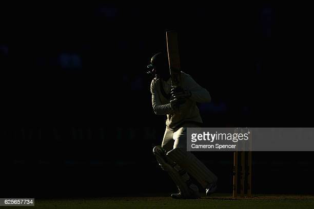 Usman Khawaja of Australia bats during day two of the Third Test match between Australia and South Africa at Adelaide Oval on November 25 2016 in...