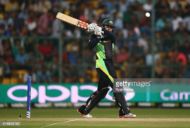 Usman Khawaja of Australia bats during the ICC World Twenty20 India 2016 Super 10s Group 2 match between Australia and Bangladesh at M Chinnaswamy...