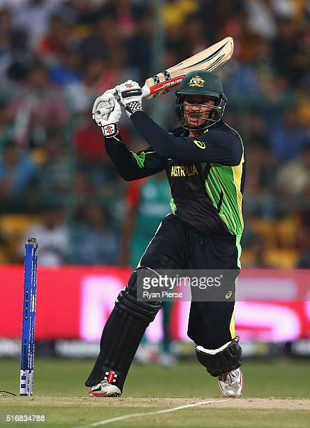 Usman Khawaja of Australia bats during the ICC World Twenty20 India 2016 Super 10s Group 2 match between Australia and Bangladesh at M Chinnaswamy...