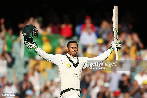 Usman Khawaja of Australia celebrates after reaching 100 runs during day two of the Third Test match between Australia and South Africa at Adelaide...