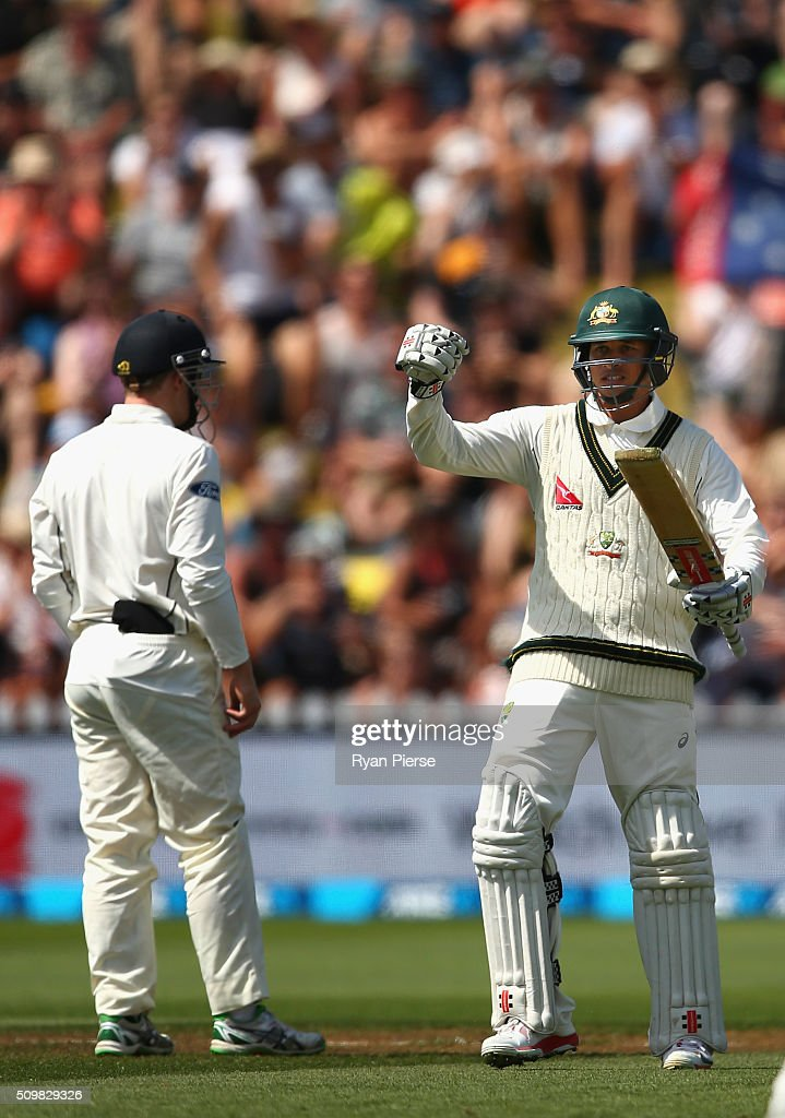 <a gi-track='captionPersonalityLinkClicked' href=/galleries/search?phrase=Usman+Khawaja&family=editorial&specificpeople=4953179 ng-click='$event.stopPropagation()'>Usman Khawaja</a> of Australia celebrates after reaching his century during day two of the Test match between New Zealand and Australia at Basin Reserve on February 13, 2016 in Wellington, New Zealand.