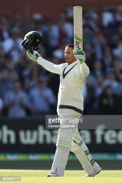 Usman Khawaja of Australia celebrates after scoring a century during day two of the Third Test match between Australia and South Africa at Adelaide...