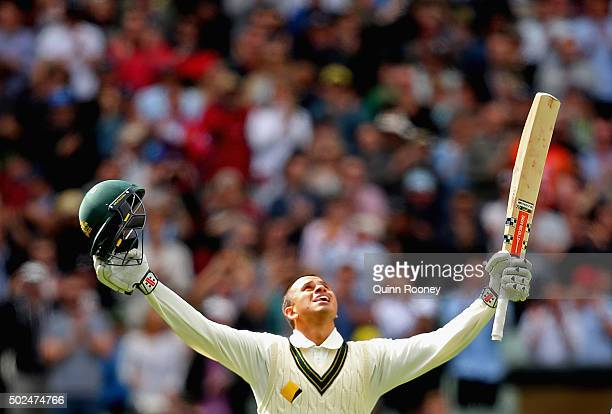 Usman Khawaja of Australia celebrates making a century during day one of the Second Test match between Australia and the West Indies at Melbourne...