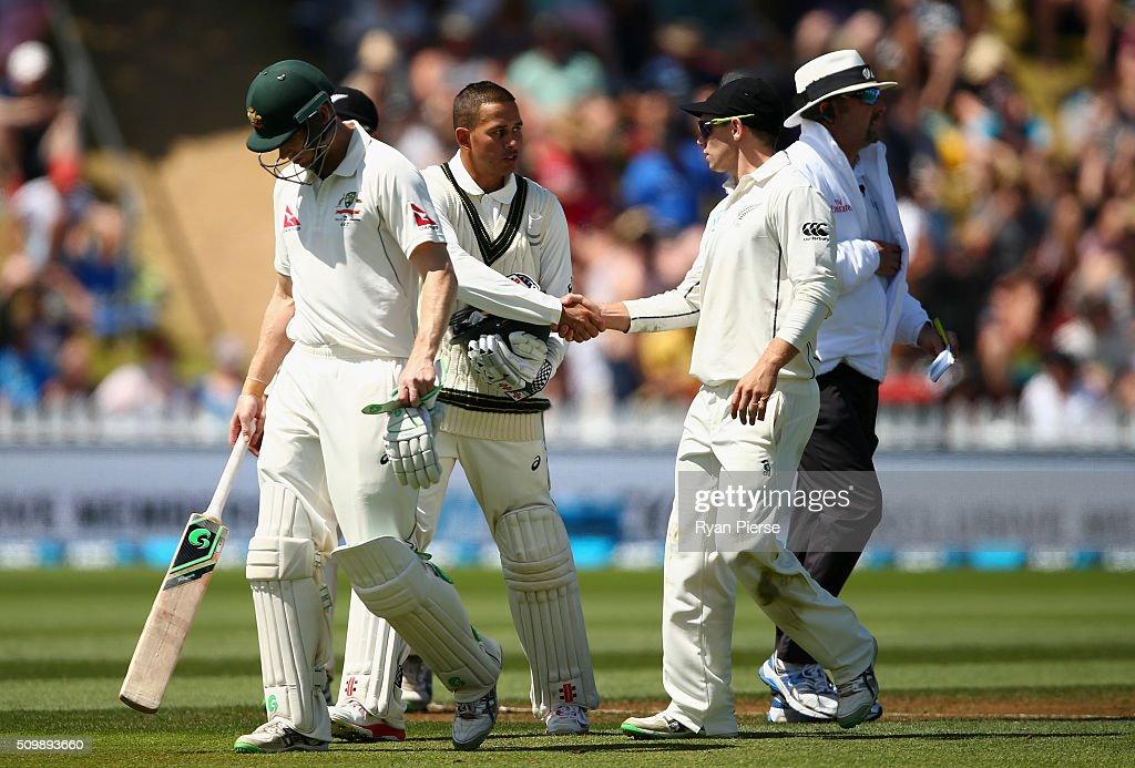 <a gi-track='captionPersonalityLinkClicked' href=/galleries/search?phrase=Usman+Khawaja&family=editorial&specificpeople=4953179 ng-click='$event.stopPropagation()'>Usman Khawaja</a> of Australia is congratulated on his century by <a gi-track='captionPersonalityLinkClicked' href=/galleries/search?phrase=Tom+Latham+-+Cricket+Player&family=editorial&specificpeople=13719242 ng-click='$event.stopPropagation()'>Tom Latham</a> of New Zealand at the lunch break during day two of the Test match between New Zealand and Australia at Basin Reserve on February 13, 2016 in Wellington, New Zealand.