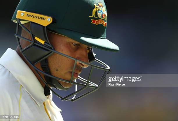 Usman Khawaja of Australia looks dejected after being dismissed by Moeen Ali of England during day two of the First Test Match of the 2017/18 Ashes...