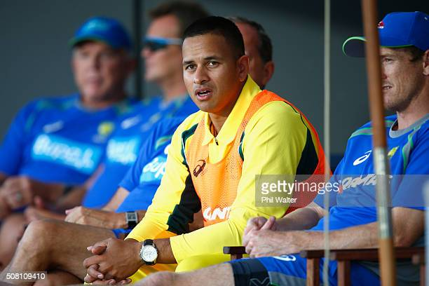 Usman Khawaja of Australia looks on from the sheds during the One Day International match between New Zealand and Australia at Eden Park on February...