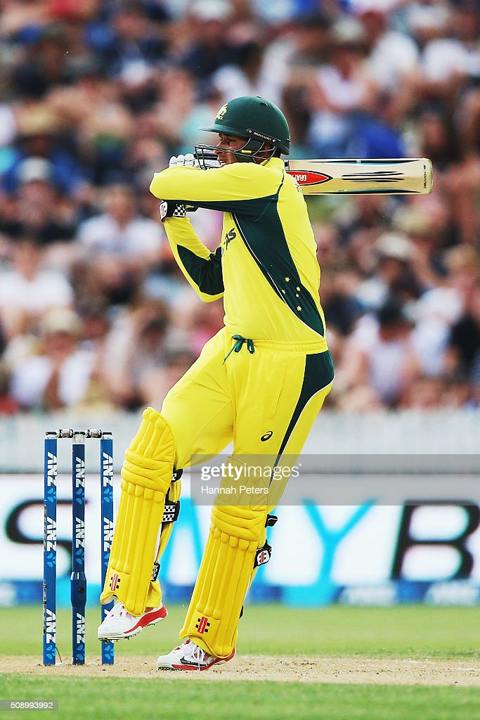 <a gi-track='captionPersonalityLinkClicked' href=/galleries/search?phrase=Usman+Khawaja&family=editorial&specificpeople=4953179 ng-click='$event.stopPropagation()'>Usman Khawaja</a> of Australia plays the ball away for four runs during the 3rd One Day International cricket match between the New Zealand Black Caps and Australia at Seddon Park on February 8, 2016 in Hamilton, New Zealand.
