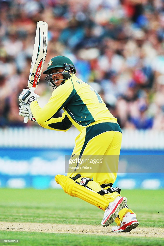 Usman Khawaja of Australia plays the ball away for four runs during the 3rd One Day International cricket match between the New Zealand Black Caps and Australia at Seddon Park on February 8, 2016 in Hamilton, New Zealand.