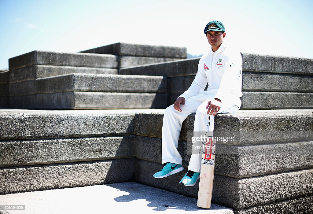<a gi-track='captionPersonalityLinkClicked' href=/galleries/search?phrase=Usman+Khawaja&family=editorial&specificpeople=4953179 ng-click='$event.stopPropagation()'>Usman Khawaja</a> of Australia poses during a portrait session at Oriental Bay on February 10, 2016 in Wellington, New Zealand.